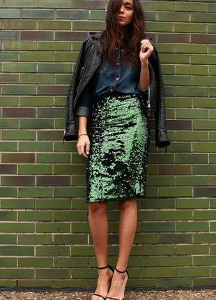 Зеленая юбка миди в пайетки topshop. смотрите мои объявления!1 фото