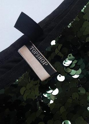 Зеленая юбка миди в пайетки topshop. смотрите мои объявления!3 фото