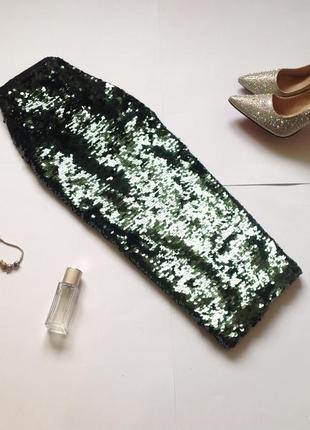 Зеленая юбка миди в пайетки topshop. смотрите мои объявления!4 фото