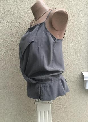 Серая майка с баской под пояс,блуза на бретелях,шёлк100%,ted baker, оригинал4 фото