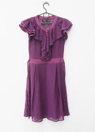 Летнее нарядное шифоновое  платье с рюшей