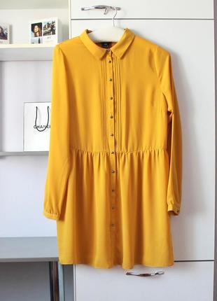 Удлиненная шифоновая горчичная рубашка от f&f