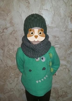 Шапочка с шарфиком на 3 годика