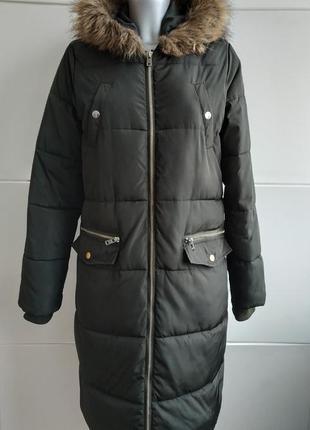 Стильное демисезонное стеганое пальто, куртка  new look с капюшоном и мехо1