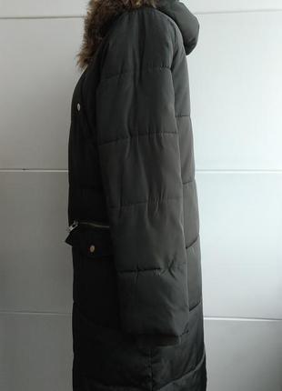 Стильное демисезонное стеганое пальто, куртка  new look с капюшоном и мехо2