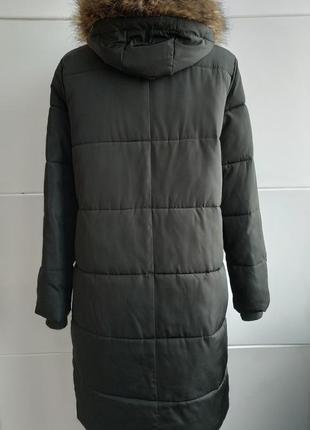 Стильное демисезонное стеганое пальто, куртка  new look с капюшоном и мехо3