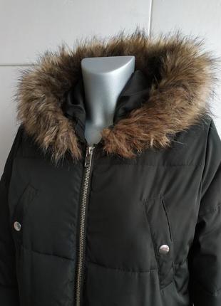 Стильное демисезонное стеганое пальто, куртка  new look с капюшоном и мехо4