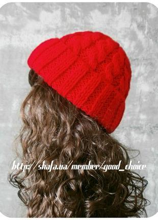 Спеццена до нг! хлопковая шапка с отворотом/косы/алого цвета1 фото