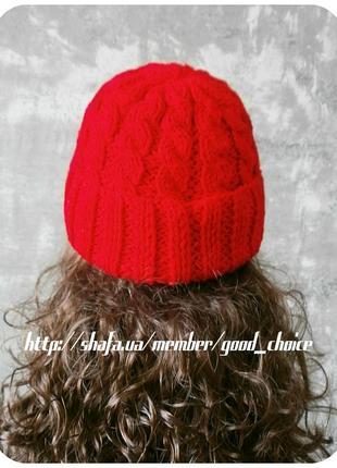 Спеццена до нг! хлопковая шапка с отворотом/косы/алого цвета2 фото