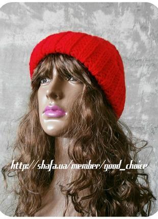 Спеццена до нг! хлопковая шапка с отворотом/косы/алого цвета3 фото