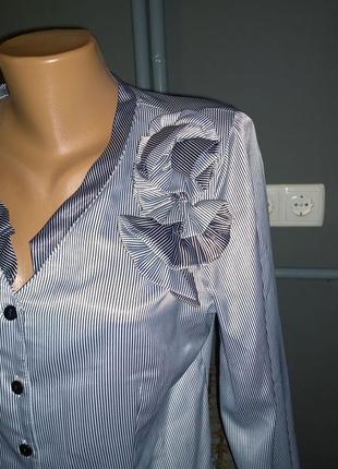 Атласная блузка кофточка в тонкую полоску3