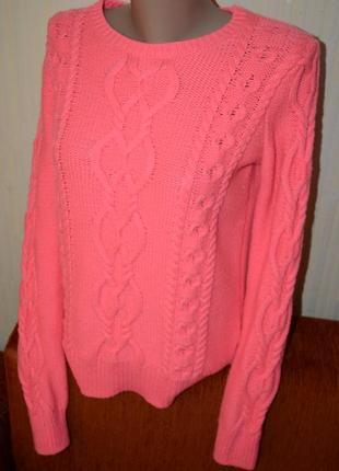 Светрик масивної в'язки рожевий неон шерстяний gap5 фото