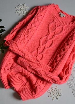 Светрик масивної в'язки рожевий неон шерстяний gap1 фото