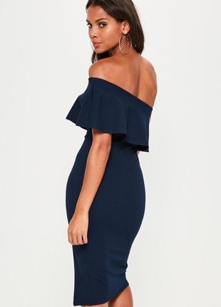 Изысканное миди платье с воланом на одно плечо2