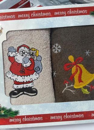 Подарочный набор праздничных полотенец 60×47см 100%хлопок турция ae cotton