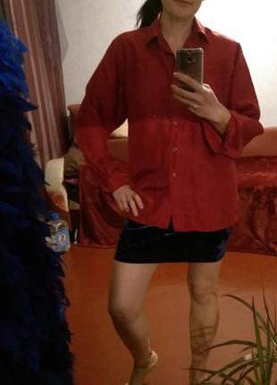 Натуральный шелк,красная блуза,подарок за покупку от 200 грн3
