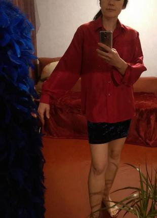 Натуральный шелк,красная блуза,подарок за покупку от 200 грн4