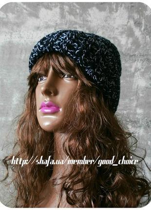 Любая расцветка! хлопковая шапка с отворотом/косы/чёрный, белый (меланж)3