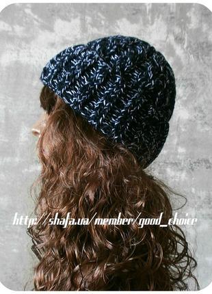 Любая расцветка! хлопковая шапка с отворотом/косы/чёрный, белый (меланж)1