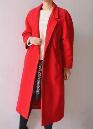Винтажное красное шерстяное кашемировое длинное пальто миди