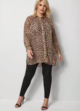 Блуза кофточка большого размера в леопардовый принт1