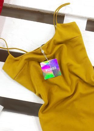Стильное горчичное платье миди на бретелях missguided4 фото