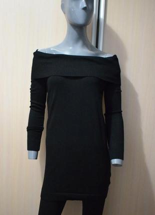 Мериносовый длинный свитер с открытыми плечами, платье-свитер1