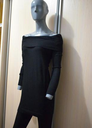 Мериносовый длинный свитер с открытыми плечами, платье-свитер3