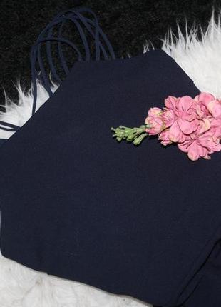 Идеальное синее платье с переплетом на спине и клином3