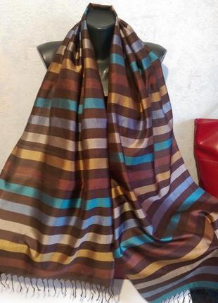Натуральный шелк,тонкая чесуча,палантин,180*521 фото