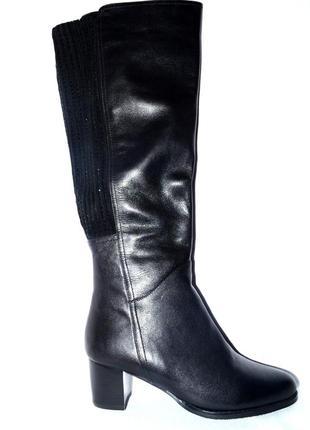 Новые модные сапоги женские зимние черные кожаные berconty натуральный мех цегейка