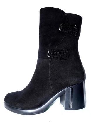 Новые модные сапоги женские зимние черные замшевые guero турция, натуральный мех цегейка