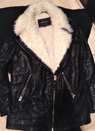 Кожаная осенне-зимняя куртка