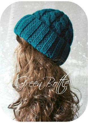 Спеццена до нг! хлопковая шапка с отворотом/косы/бутылочного цвета1 фото