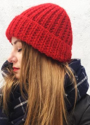 Красная мохеровая вязанная шапка, зимняя шапка