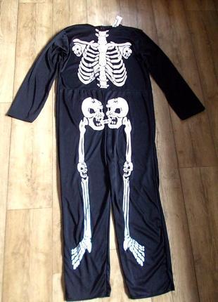 Маскарадный комбинезон скелета или кащея на 7-10 лет