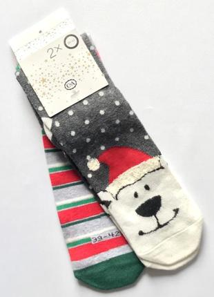 Комплект 2 пары. коттоновые новогодние носочки, рождественские носки, c&a, 39-421 фото