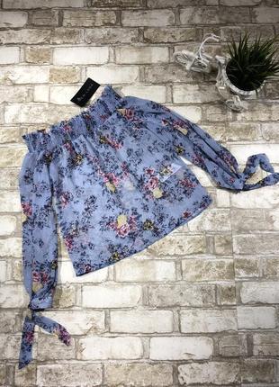 Нежная блуза с открытыми плечами в цветах, нарядная с люрексом, свободная4