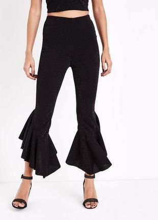 Нарядные вечерние брюки с оборками и люрексом, трендовые эластичные штаны с рюшами3