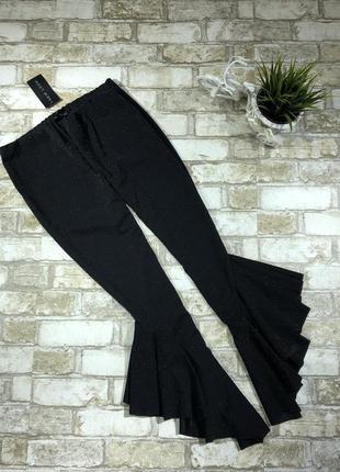 Нарядные вечерние брюки с оборками и люрексом, трендовые эластичные штаны с рюшами4