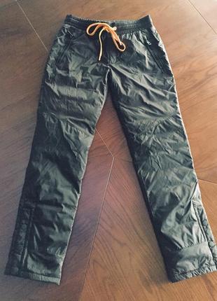 Утеплённые пухом, болоневые, стильные спортивные штаны