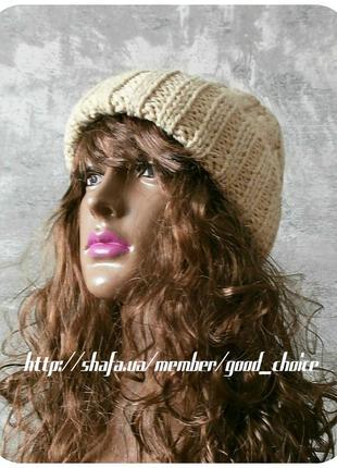 Спеццена до нг! хлопковая шапка с отворотом/косы/цвета сливочный беж3