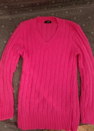 Шикарний яскравий теплий светр джемпер яркий ультрамодный ярко розовый свитер
