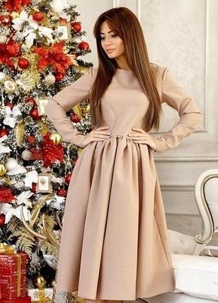Женское платье миди с пышной юбкой1