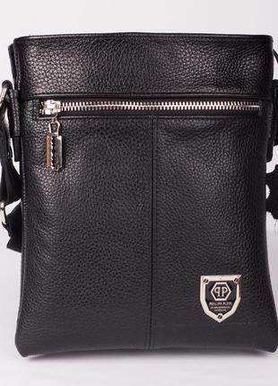 Отличный подарок мужчине! двусторонняя кожаная мужская сумка philipp plein