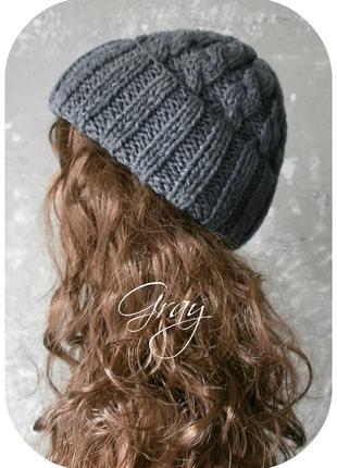Любая расцветка! хлопковая шапка с отворотом/косы/серого цвета1 фото