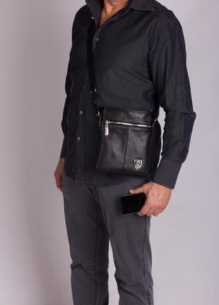 Отличный подарок мужчине! двусторонняя кожаная мужская сумка philipp plein5