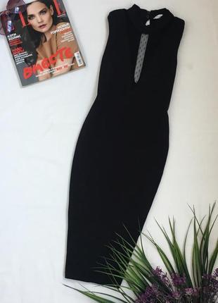 Красивое новое новогоднее черное платье с прозрачной вставкой miss miss