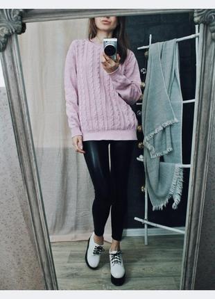 Красивый пыльно розовый свитерок меланж 100 % коттон2