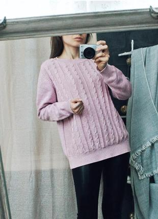Красивый пыльно розовый свитерок меланж 100 % коттон4